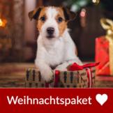 Weihnachtspaket für Hunde: Trockenfutter Mono, Nassfutter Prebiotics, großer Snack